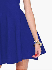 Basic Strapless Plain Sleeveless Skater Dress