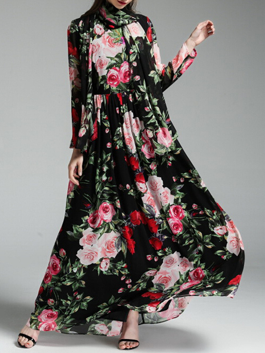 Round Neck  Removable Tie  Printed  Chiffon Maxi Dress