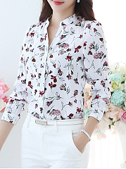Autumn Spring  Polyester  Women  V-Neck  Single Breasted  Floral Printed  Long Sleeve Blouses