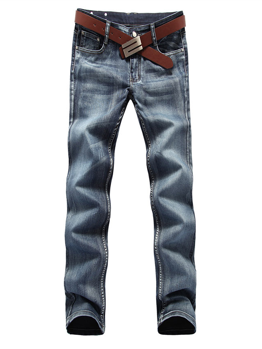 Fitted Light Wash Patch Pocket Straight Men's Jeans