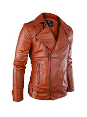Faux Leather Zips Men Motorcycle Jacket