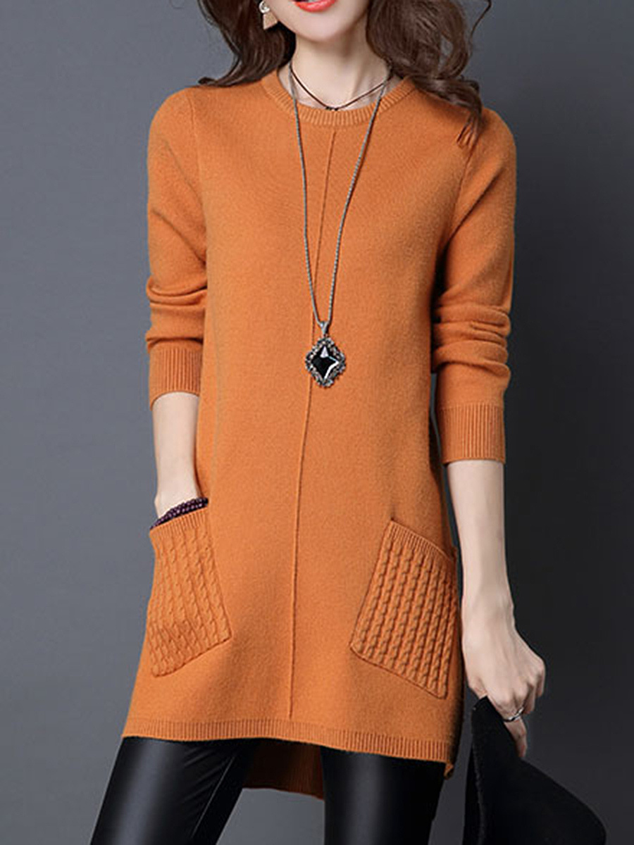 Round Neck Patch Pocket Plain Longline Sweater