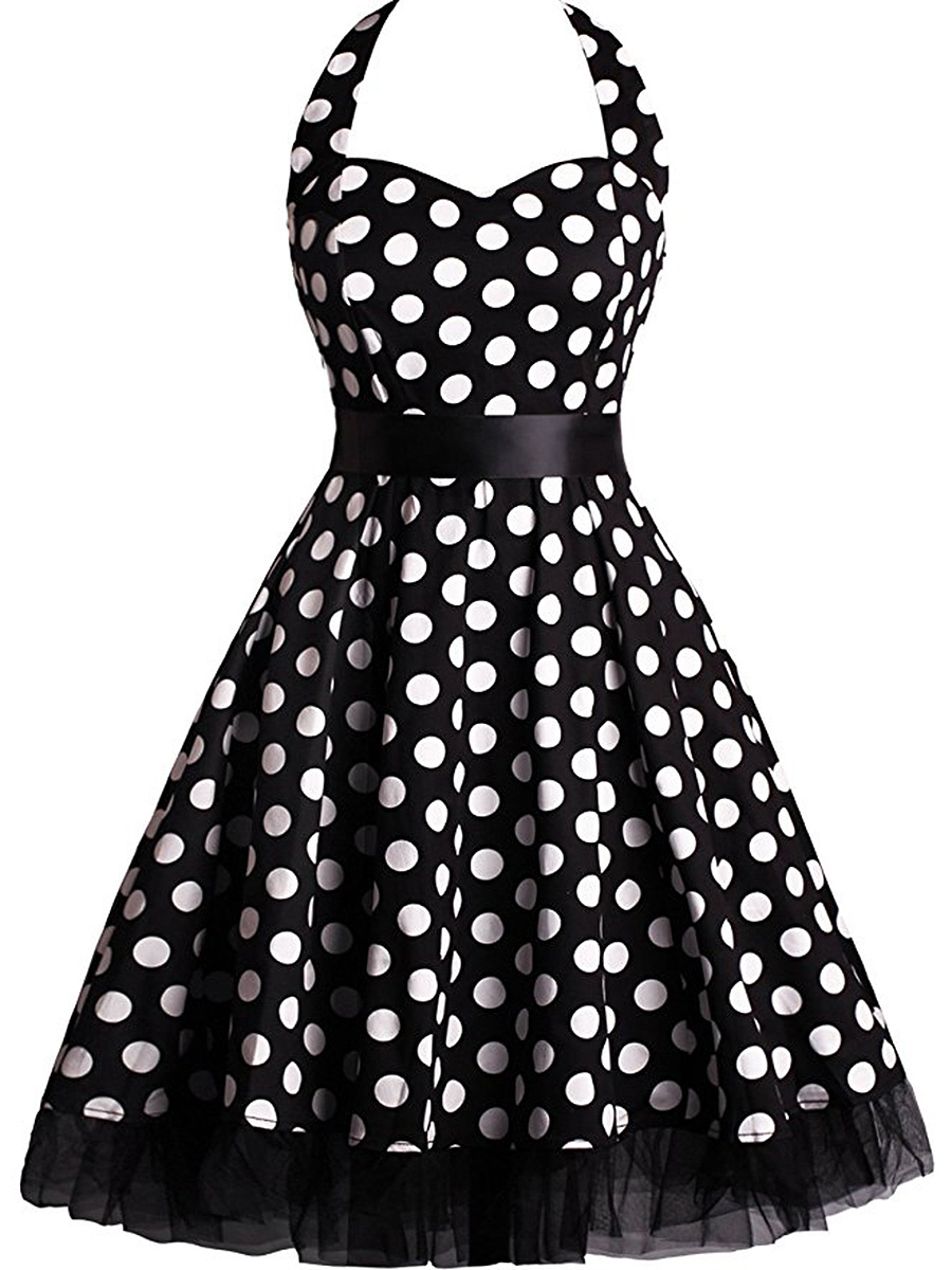 Retro Halter Polka Dot Elastic Waist Midi Skater Dress
