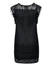 Round Neck Midi Patchwork Fashion Lace Shift Dress