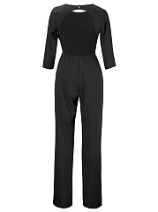 Back Hole Plain Round Neck Straight Jumpsuit