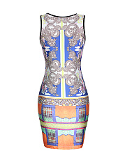 Extraordinary Round Neck Tribal Printed Bodycon Dress