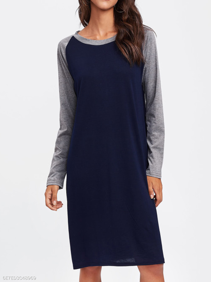 Color Block Round Neck Casual Shift Dress