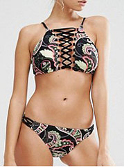 Lightweight  Abstract Print Bohemian  High-Rise Bikini