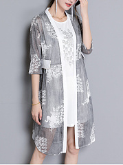 Round Neck  Printed Casual Shift Dress