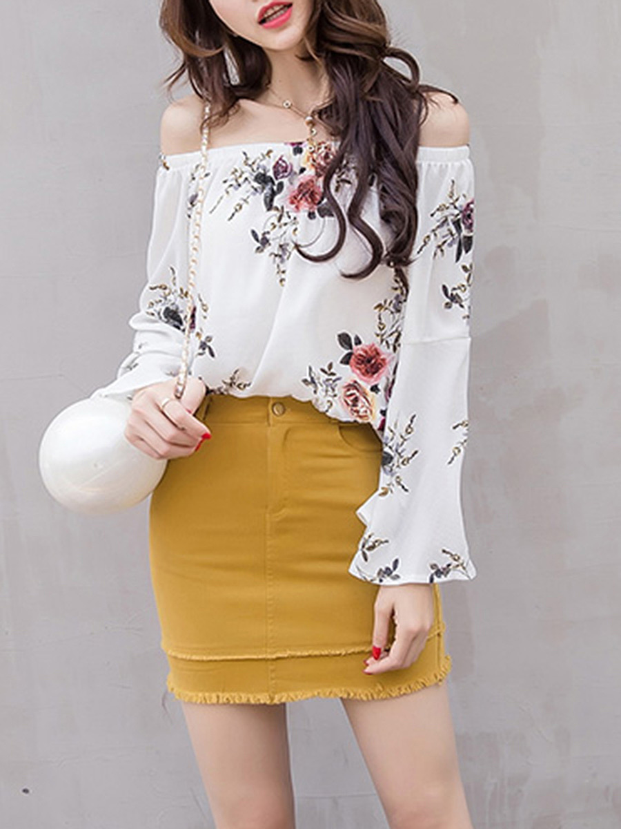 Off Shoulder Floral Printed Bell Sleeve T-Shirt