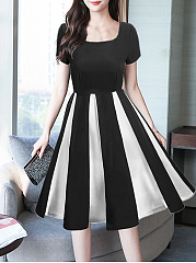 Round Neck  Patchwork  Colouring Skater Dress