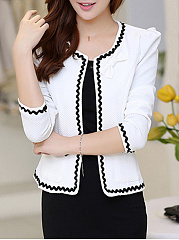 Collarless Bowknot Decorative Lace Blazer
