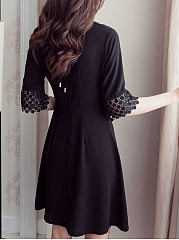 Round Neck Patchwork See-Through Plain Skater Dress