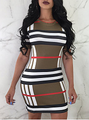 Crew Neck  Plaid Bodycon Dress