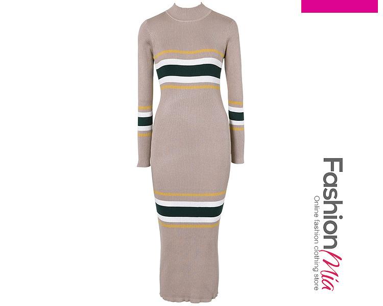 High Neck Striped Knitted Midi Bodycon Dress 6ED0F2CADB05