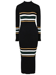 High Neck Striped Knitted Midi Bodycon Dress