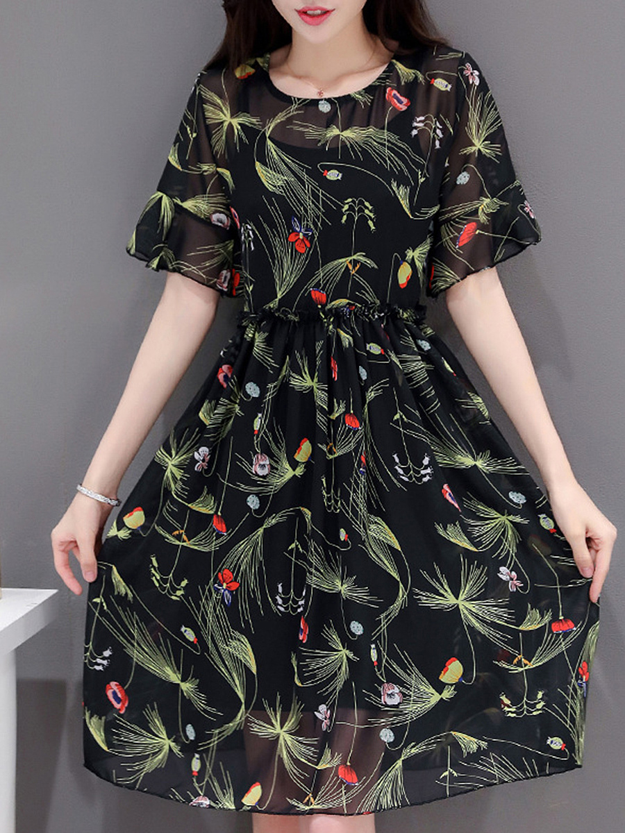 Hollow Out Printed Bell Sleeve Chiffon Skater Dress