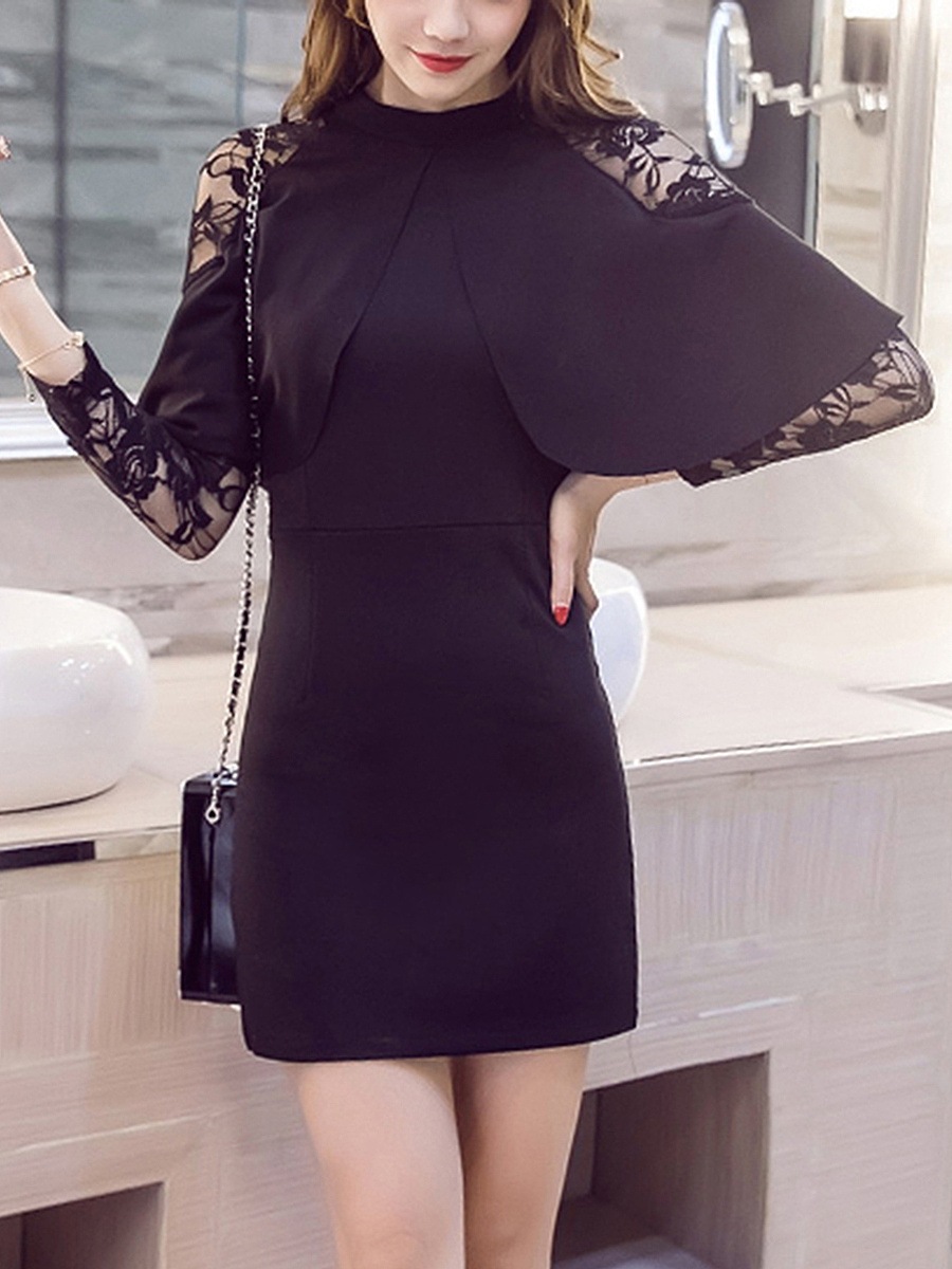 Cape Sleeve Band Collar See-Through Plain Mini Bodycon Dress