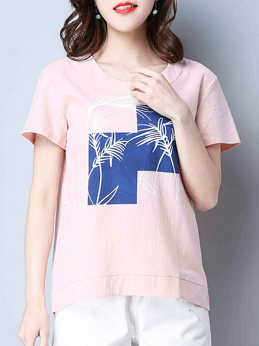 Round Neck Remarkable Color Block Short Sleeve T-Shirt