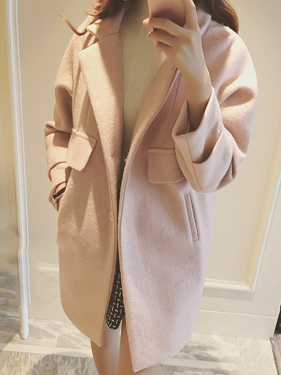 Loose Lapel Plain Pocket Woolen Coat
