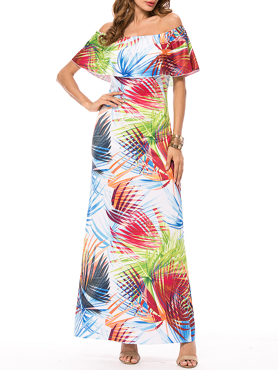 Colorful Off Shoulder Flounce Printed Maxi Dress