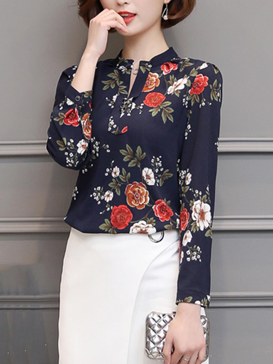 Split Neck Floral Long Sleeve Chiffon Blouse