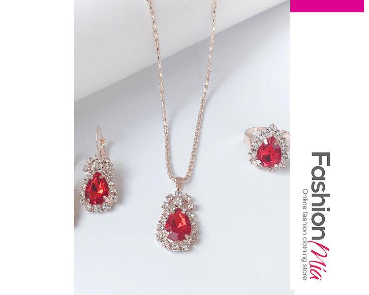 Water Drop Necklace Earrings Ring Jewelry
