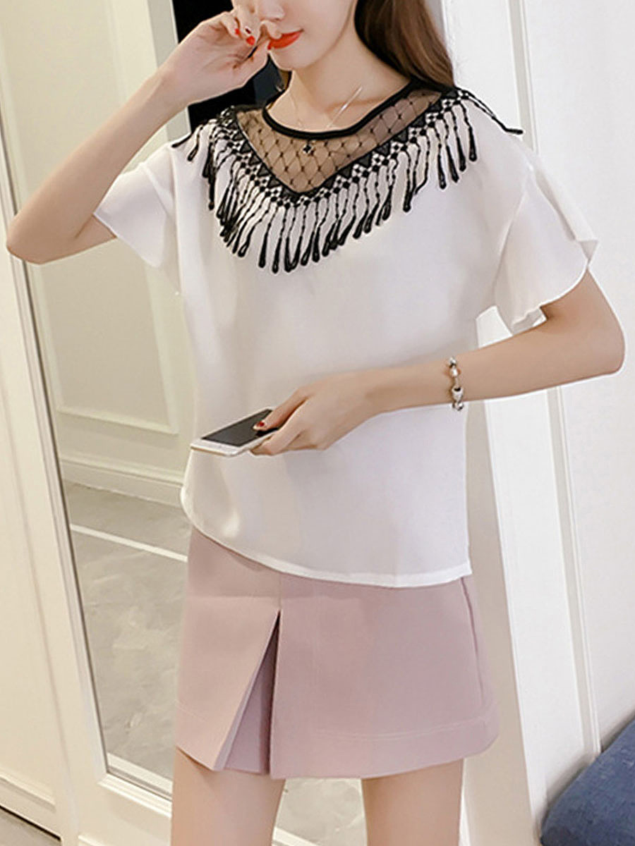 Decorative Lace Fringe  Hollow Out  Bell Sleeve Blouse