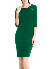 Elegant Round Neck Zips Plain Bodycon Dress