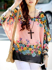 Floral  Batwing Sleeve Round Neck  See-Through Tunic