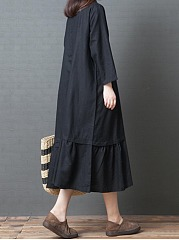 Turn Down Collar  Ruffled Hem  Plain Maxi Dress
