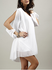 Hot Open Shoulder Plain Chiffon Shift Dress