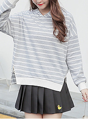 Autumn Spring  Cotton Blend  Striped  Raglan Sleeve  Long Sleeve Hoodies