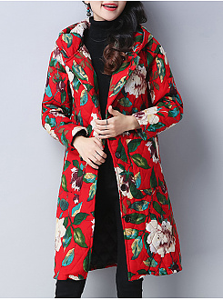 Hooded  Floral  Long Sleeve Coats