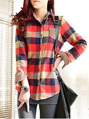 Button Down Collar  Single Breasted  Checkered Blouses