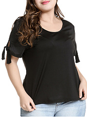 Round Neck  Plain  Tie Sleeve  Short Sleeve Plus Size Blouse