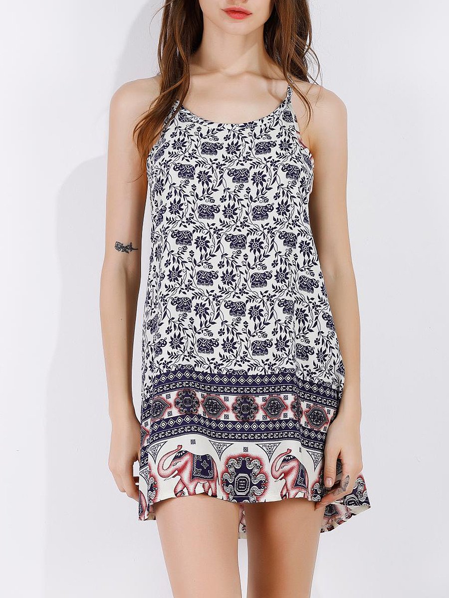 Spaghetti Strap  Tribal Printed   Shift Dress