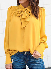 Autumn Spring  Chiffon  Women  Tie Collar  Plain  Long Sleeve Blouses