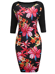 Floral Printed Bodycon Dress With Half Sleeve