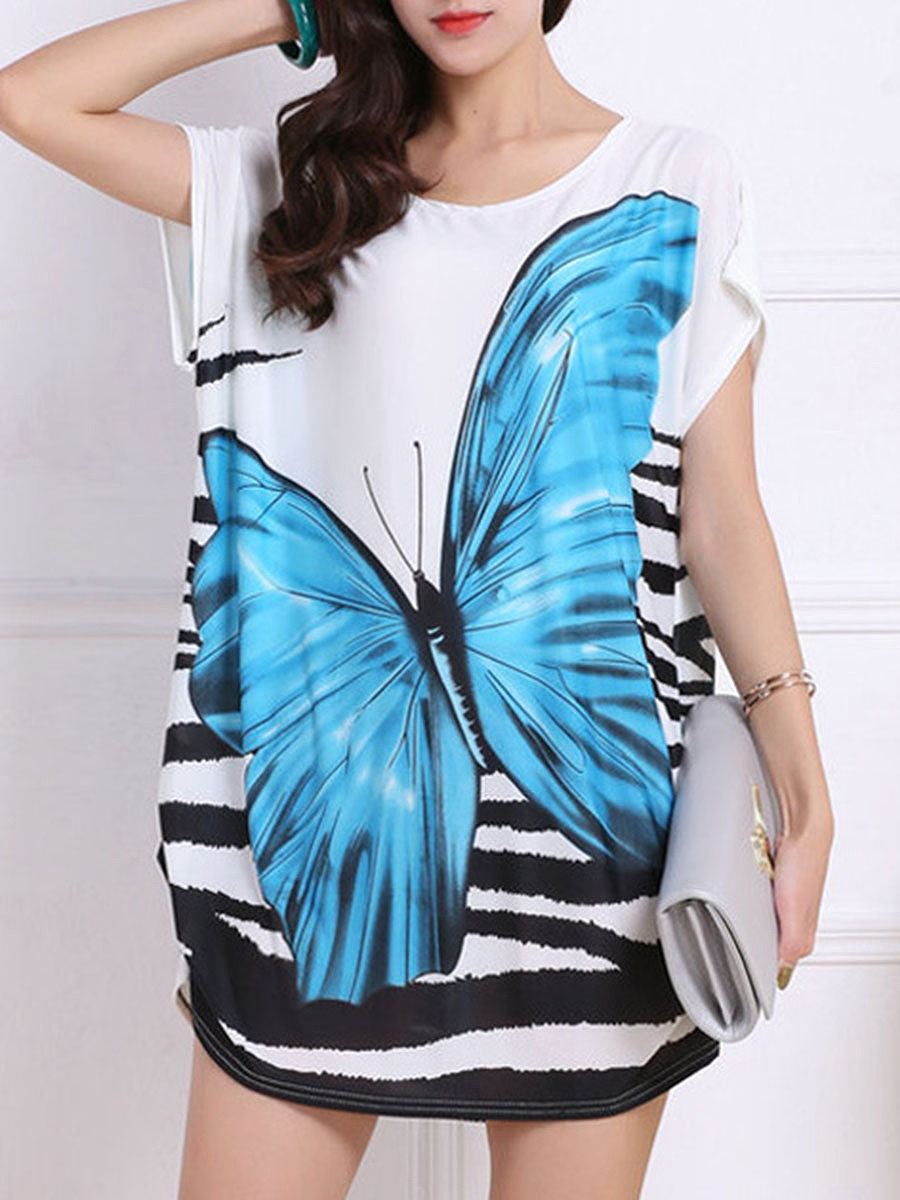 Summer  Polyester  Round Neck  Printed Short Sleeve T-Shirts