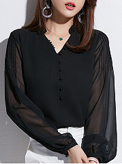 Autumn Spring  Women  V-Neck  Decorative Button  Plain  Long Sleeve Blouses