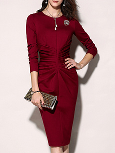 Round Neck  Ruched  Plain Bodycon Dress