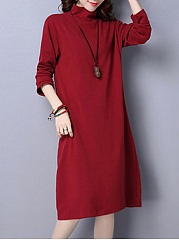 High Neck  Plain  Cotton Blend Shift Dress