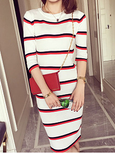 Crew Neck  Striped Bodycon Dress