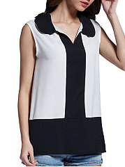 Summer  Polyester  Women  Fold-Over Collar  Patchwork  Color Block  Sleeveless Blouses