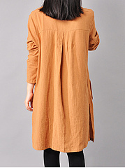 Split Neck Patch Pocket Plain Shift Dress