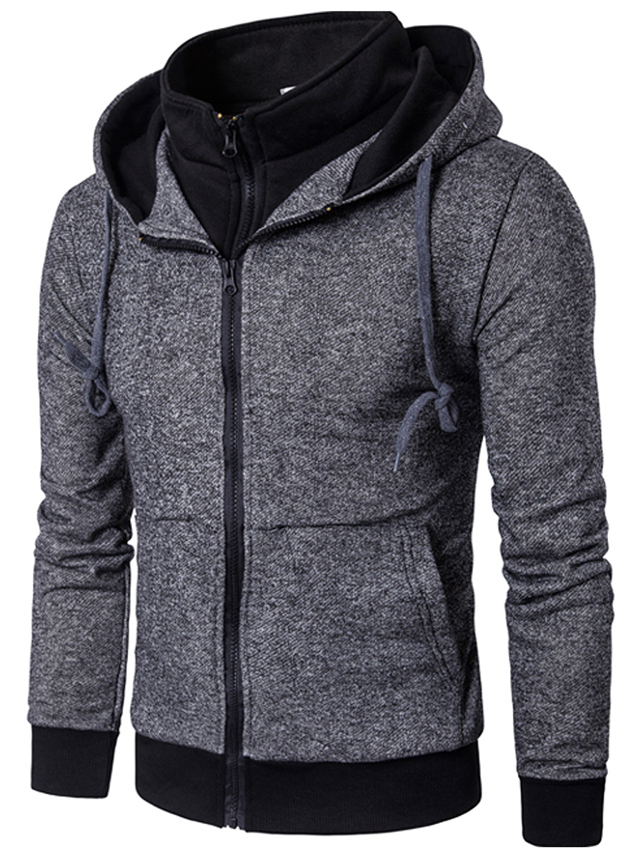 Hooded Patch Pocket Men Fake Two-Piece Coat