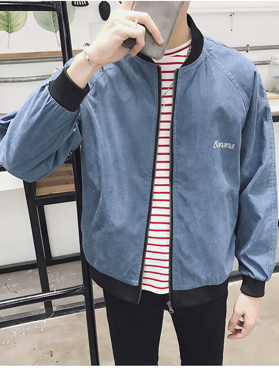 Men Band Collar Letters Banana Printed Bomber Jacket