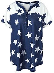 Split-Neck-Color-Block-Star-Plus-Size-T-Shirt