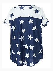 Split Neck  Color Block Star Plus Size T-Shirt